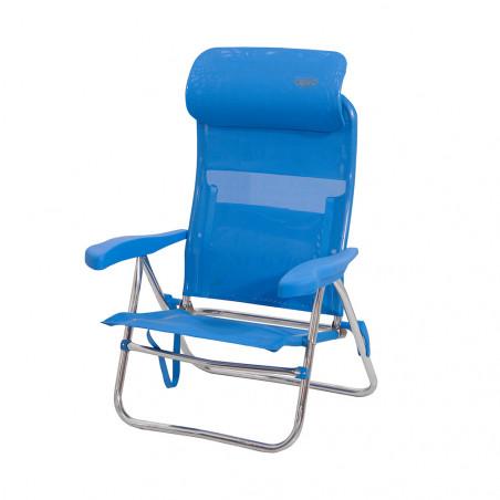 Crespo AL-205-C azul - Silla de playa plegable cabezal compact