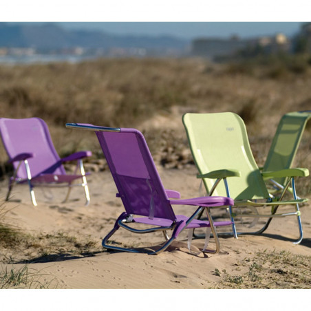 Silla tumbona plegable Crespo CAMA BAJA 7 POSICIONES de playa rayas