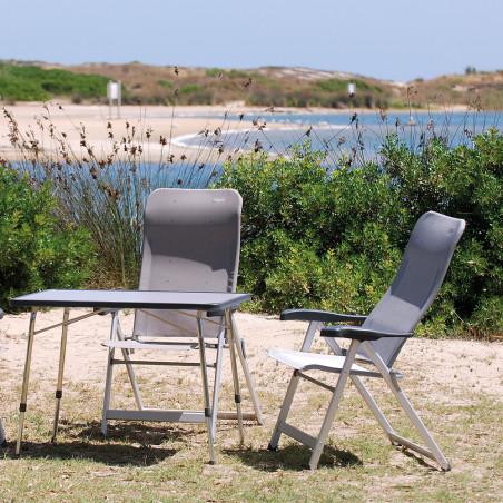 Silla plegable reclinable Crespo 7 POSICIONES REFORZADA gris oscuro