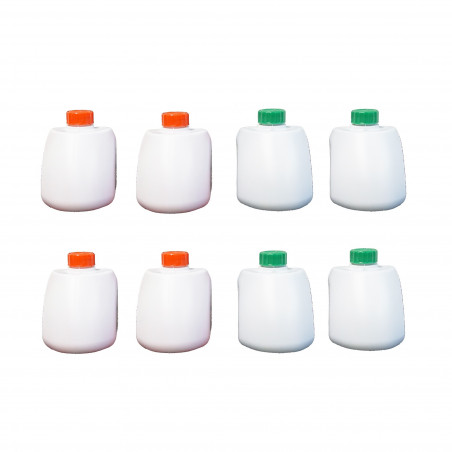 Pack de 4 sets de líquidos para wc inodoro químico CAMP GREEN 500 ml + CAMP RINSE 500 ml