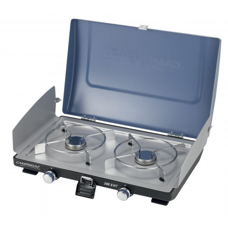 Cocina de gas Campingaz SERIE 200 con tapa y paravientos