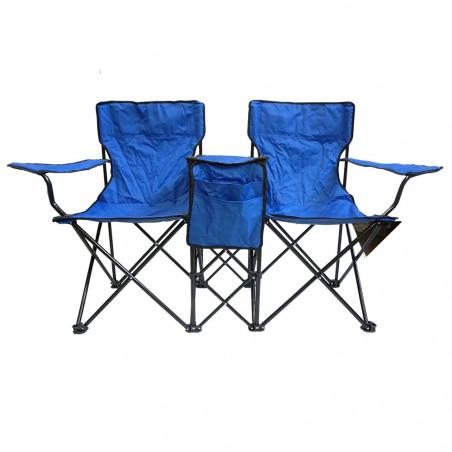 Silla plegable doble HOSA TWIN con reposabrazos, posavasos y revistero – azul