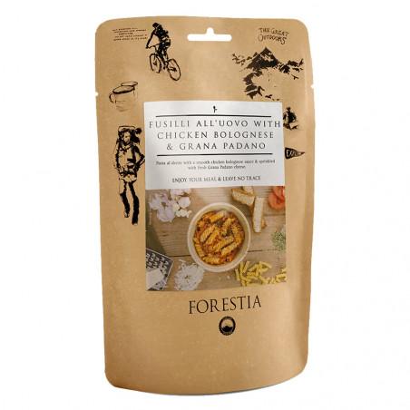 Pouch 350 g Forestia - Fusili al huevo con boloñesa de pollo