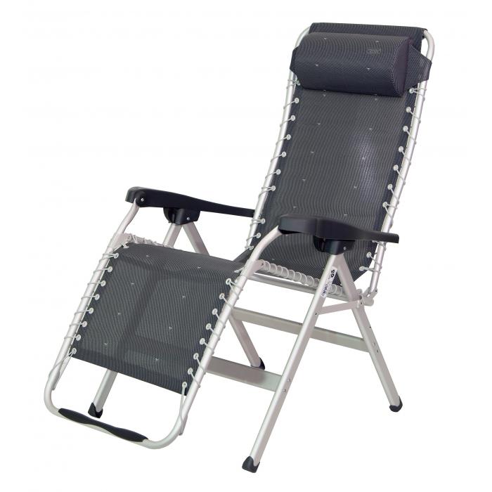 Tumbona crespo gran relax reforzada gris oscura camping sport - Silla tumbona ...