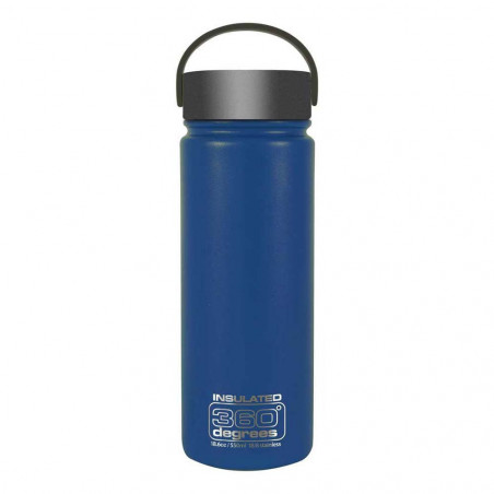 360 Degrees Boca Ancha 550 ml azul oscuro - Botella termo