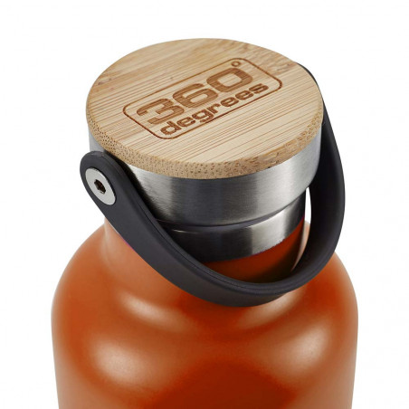 360 Degrees Tapón Bambú 750 ml naranja - Botella termo