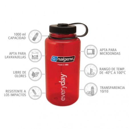 Nalgene Boca Ancha rojo rubí tapón negro 1 Litro – Botella cantimplora