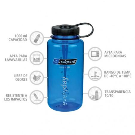Nalgene Boca Ancha azul tapón negro 1 Litro – Botella cantimplora