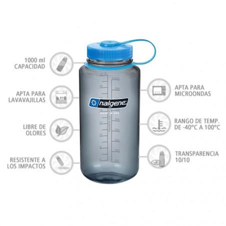 Nalgene Boca Ancha gris tapón azul 1 Litro – Botella cantimplora
