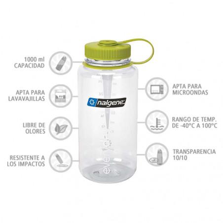 Nalgene Boca Ancha transparente tapón verde 1 Litro – Botella cantimplora