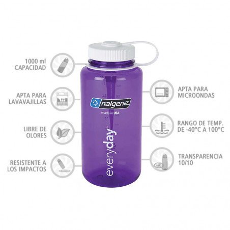 Nalgene Boca Ancha lila tapón blanco 1 Litro – Botella cantimplora