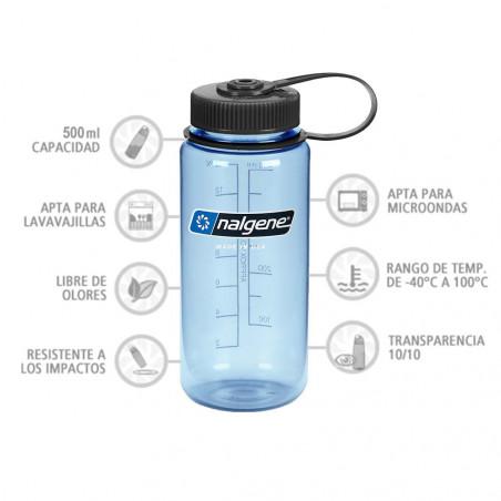 Nalgene Boca Ancha azul tapón negro 500 ml – Botella cantimplora