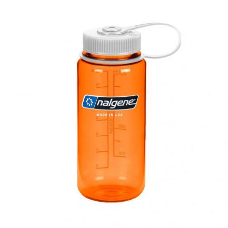 Nalgene Boca Ancha naranja tapón blanco 500 ml – Botella cantimplora