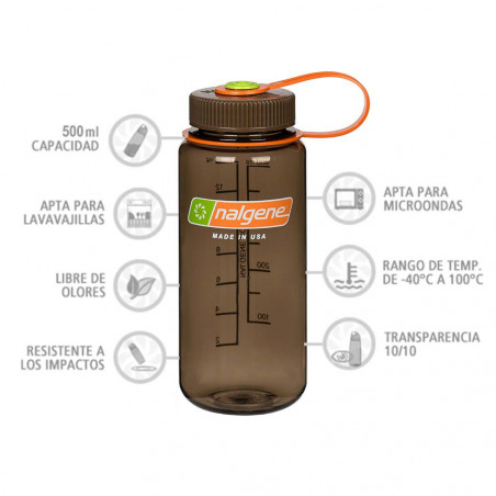 Nalgene Boca Ancha marrón 500 ml – Botella cantimplora