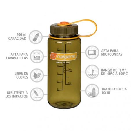 Nalgene Boca Ancha aceituna 500 ml – Botella cantimplora