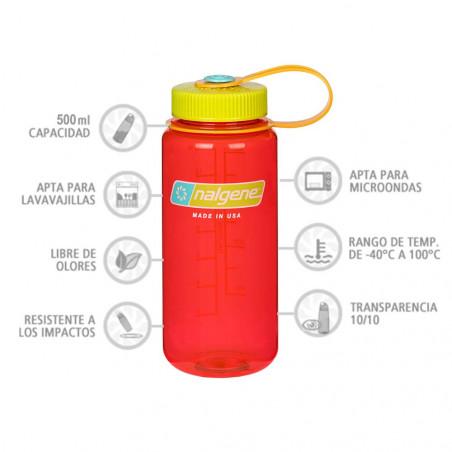 Nalgene Boca Ancha rojo tapón verde 500 ml – Botella cantimplora