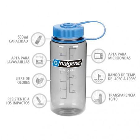 Nalgene Boca Ancha gris tapón azul 500 ml – Botella cantimplora