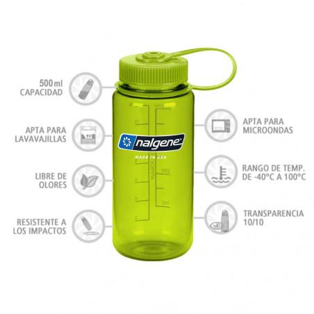 Nalgene Boca Ancha verde tapón verde 500 ml – Botella cantimplora