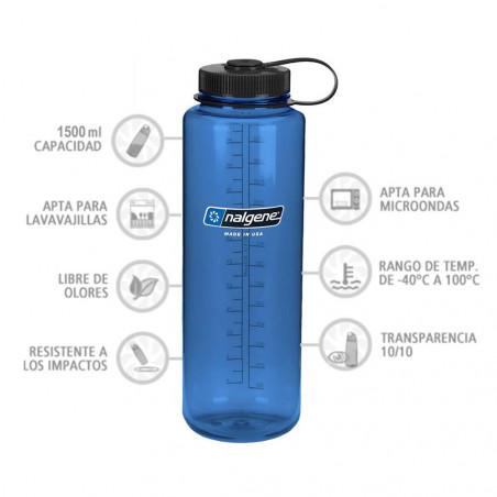 Nalgene Boca Ancha azul tapón negro 1,5 Litros – Botella cantimplora