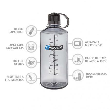 Nalgene Boca Estrecha gris tapón negro 1 Litro – Botella cantimplora