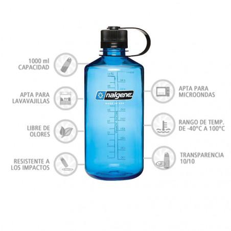Nalgene Boca Estrecha azul tapón negro 1 Litro – Botella cantimplora