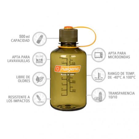 Nalgene Boca Estrecha aceituna 500 ml – Botella cantimplora