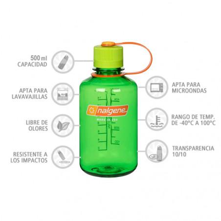 Nalgene Boca Estrecha verde tapón verde naranja 500 ml – Botella cantimplora
