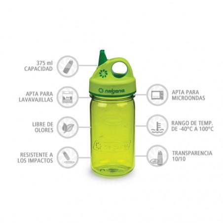 Nalgene Grip'n Gulp verde 375 ml – Botella cantimplora para niños
