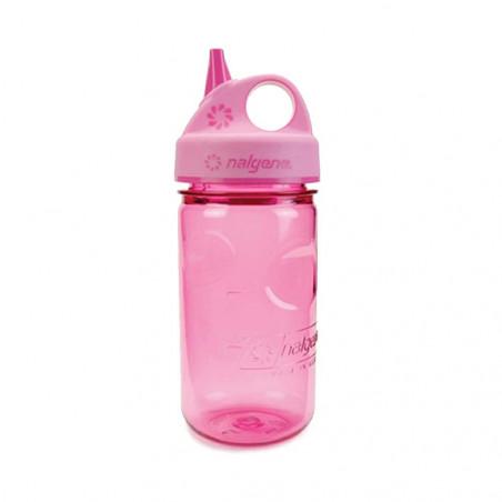 Nalgene Grip'n Gulp rosa 375 ml – Botella cantimplora para niños
