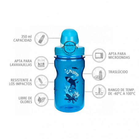 Nalgene OTF Kids Marítimo 350 ml – Botella cantimplora para niños