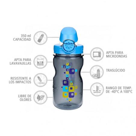 Nalgene OTF Kids Cuadrados 350 ml – Botella cantimplora para niños