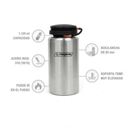 Nalgene Boca Ancha Backpacker inox recta 1,125 litros – Botella cantimplora
