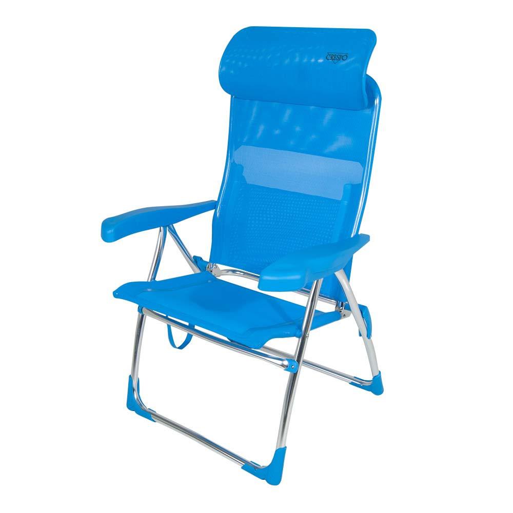 Crespo AL/206-C azul - Silla plegable alta cabezal compact