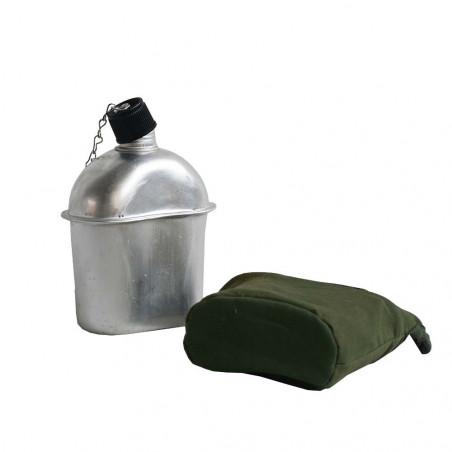 Aluminum Canteen 750 ml con funda verde bosque - Cantimplora militar