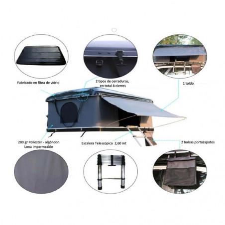 Domin Go! Camper DOMEGA D+ 145 marrón - Tienda de techo rígida para coche