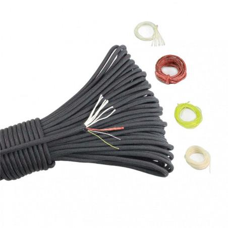 Cordón North Star Paracord 550 PRO de 7+3 hebras con hilo de fuego, coser y pesca – por metro negro