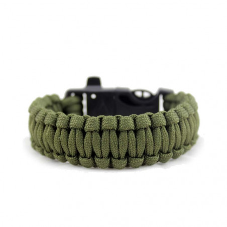 North Star Survival Bracelet negro - Pulsera paracord con silbato