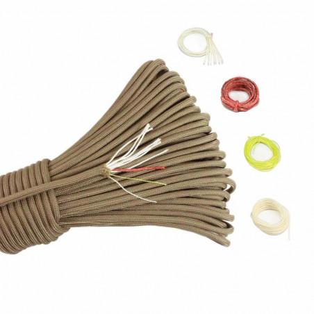 Cordón North Star Paracord 550 PRO de 7+3 hebras con hilo de fuego, coser y pesca – por metro marrón claro