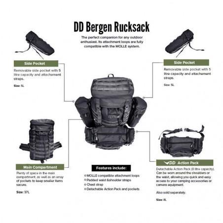 DD Hammocks Bergen Rucksack 55L negra - Mochila táctica de bushcraft