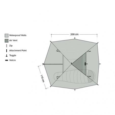 DD Hammocks Superlight Pyramid Tent - Tienda de campaña individual