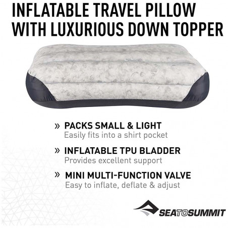 Sea to Summit Aeros Down Pillow Large gris - Almohada de viaje