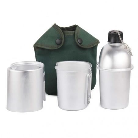 North Star Tactic Canteen 1 litro - Cantimplora militar + cazo + hornillo de leña + funda