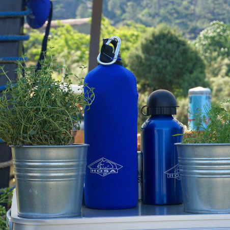 Botella cantimplora HOSA ALUMINIO 1 L CON FUNDA - azul