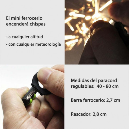 PSKOOK Fire starter necklace negro - Collar paracord con ferrocerio