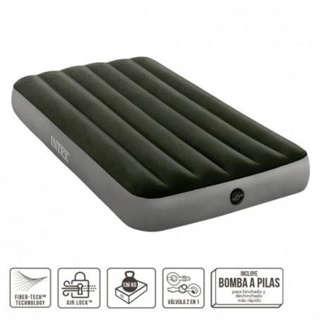 Intex Prestige Downy con Fiber-Tech - Colchón hinchable eléctrico camping individual