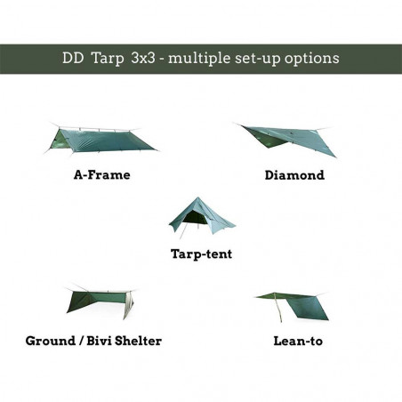 DD Hammocks Superlight Tarp 3x2,9 - Verde oliva - Toldo Bushcraft