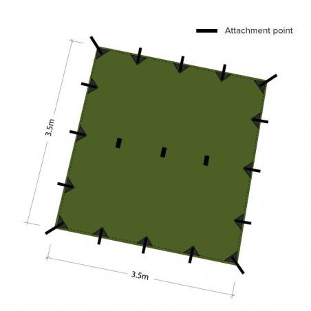 DD Hammocks Tarp 3x3 - Verde oliva - Toldo Bushcraft