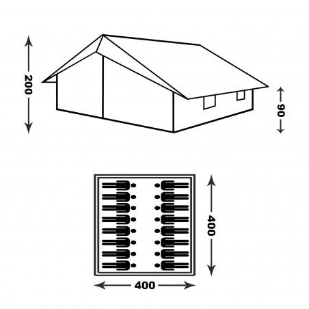 Tienda de campaña grande PATRULLA 4X4 con doble techo e interior – verde camu