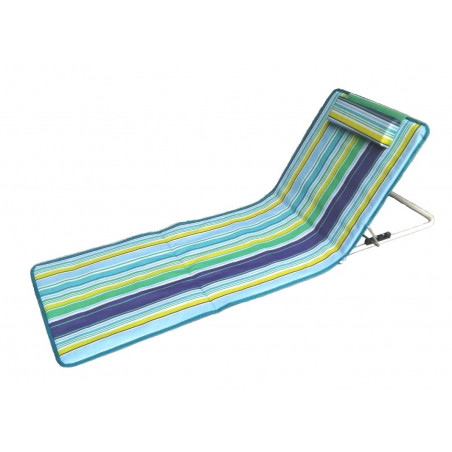 Tumbona de playa plegable RESPALDO RECLINABLE y reposacabezas - azul