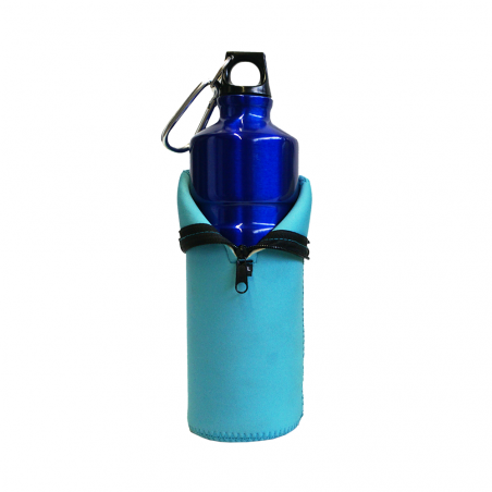 Botella cantimplora HOSA ALUMINIO MOSQUETÓN 0,75L con funda neopreno – azul cielo